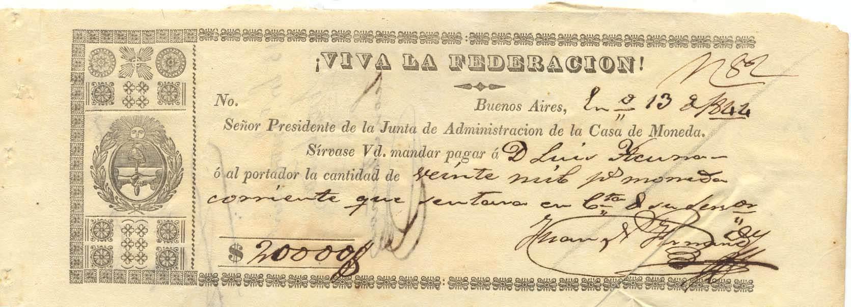 Argentine Paper Money, Casa de Moneda Promissory Notes, 1844-58