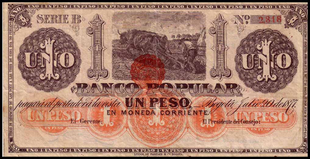 Colombia Paper Money Banco Popular 1887 1882 Issues