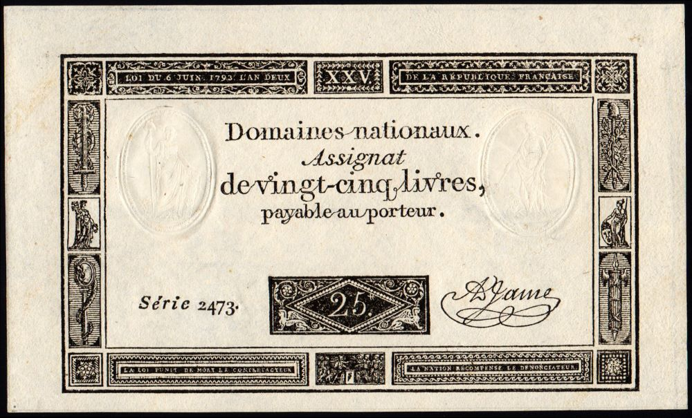 P.A71 25 Livres L.6.6.1793 Serie ...